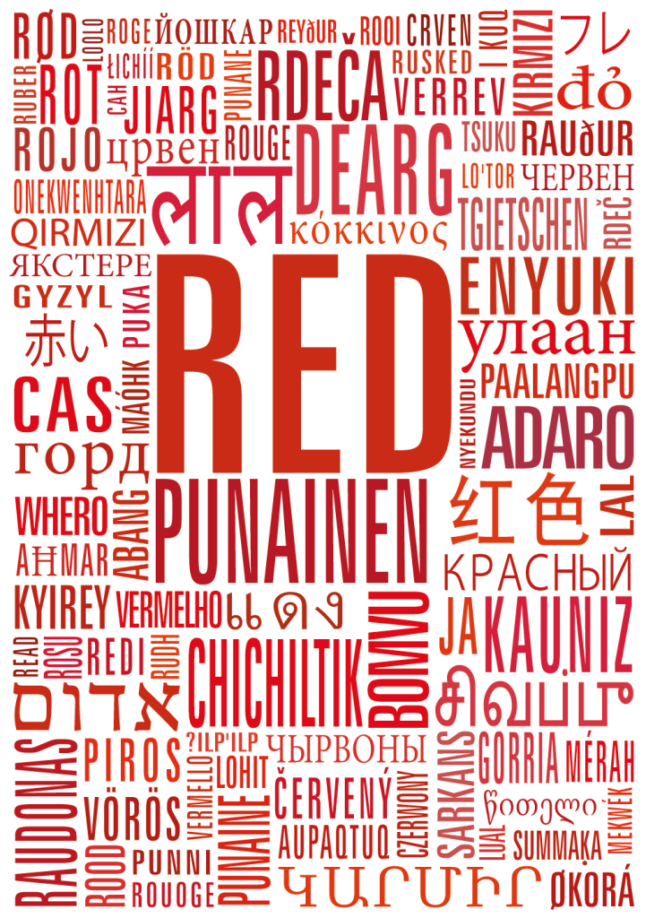 Punainen sanat kortti